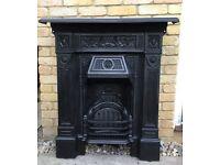 Antique Repton Cast Iron Fireplace / Fire Grate / Vintage Fire Place / Surround