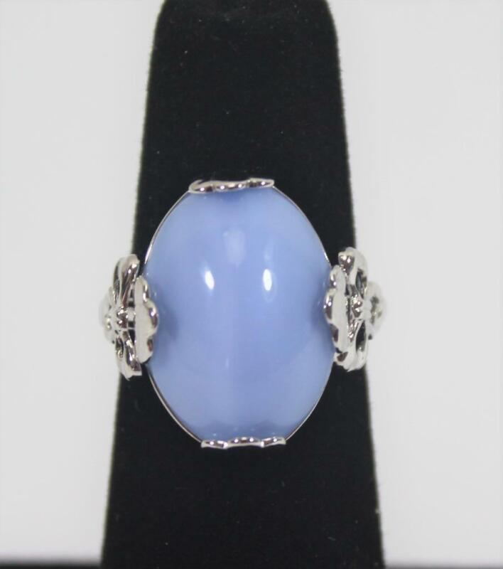 Ladies Vintage Avon Silver Tone Ring with Blue Stone Size 5.25