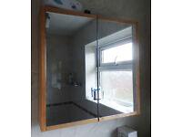Ikea teak style Double door Mirror bath Cabinet