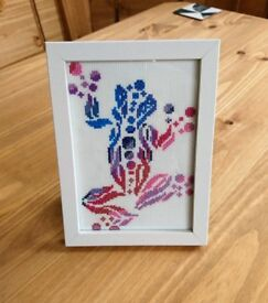 Handstitched Multi Coloured Frog Picture with Frame (A5 size)