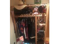 Ikea-Style Open Wardrobe/Shelving. Good condition, made from lightweight wooden slats.