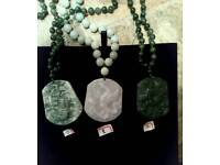 Chinese icy jade pandent with jade beads necklace