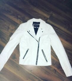 White Real Leather Biker Jacket - Size 6