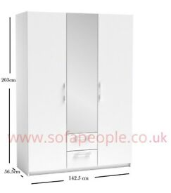 DON'T FALL FOR CHEAP CHINESE KNOCK OFFS 3 door 2 drawer San Diego mirrored Wardrobe black or white