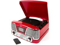 GPO Memphis Turntable 4-in-1 Music Centre with CD and FM Radio Brand New