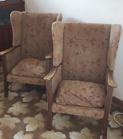 2 1950s vintage retro armchairs