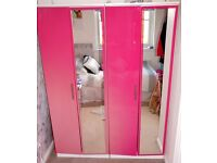 High Gloss Pink Bedroom Furniture Set - Wardrobes & Drawers