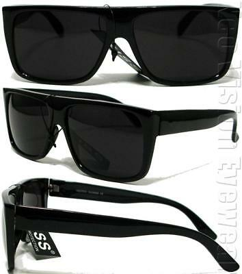 Gangster Flat Top Square Sunglasses OG LOC Style Super Dark Black (Loc Styles Men)