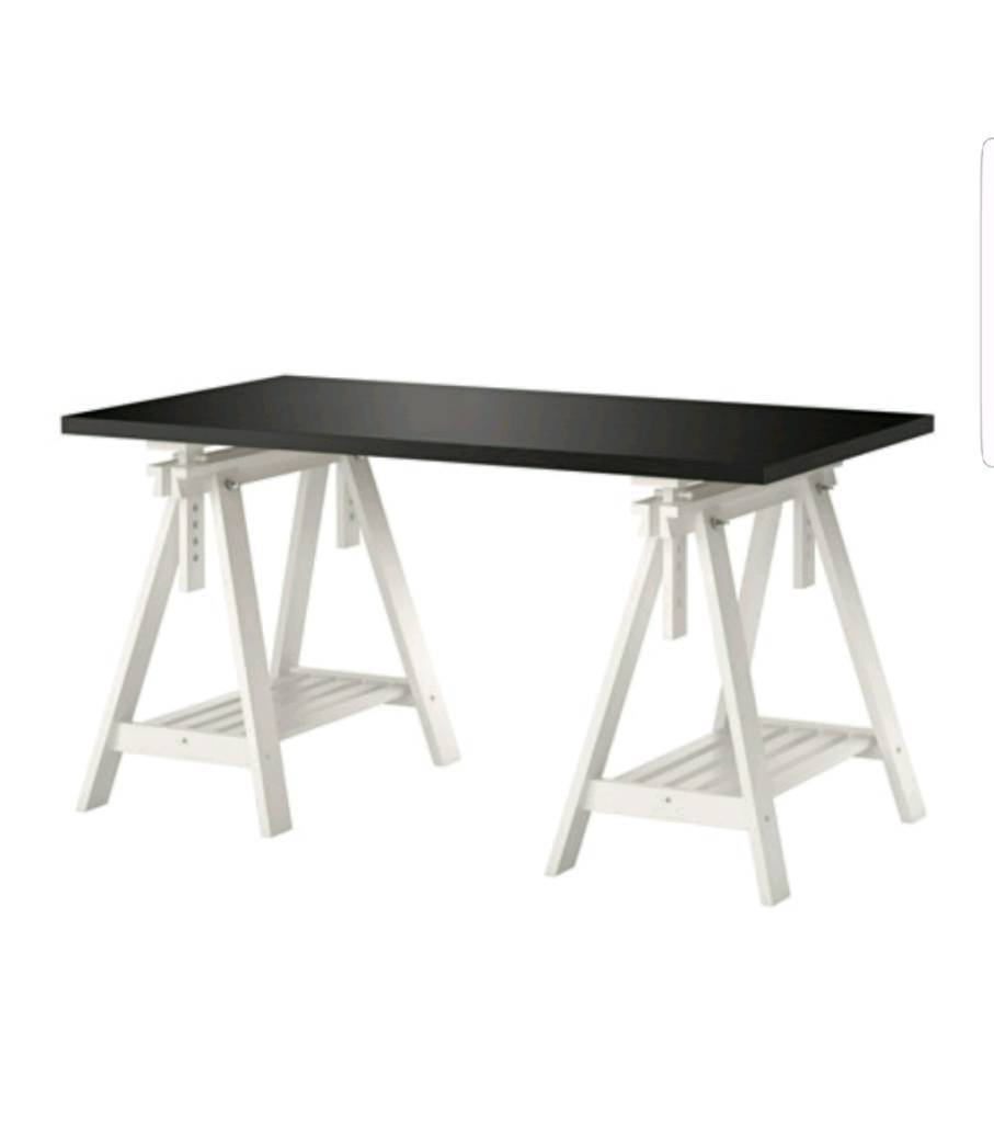 Ikea Finnvard Linnmon Tressle table Top and Tessle with Shelf