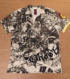 """Brand new vintage Ed Hardy men's medium black and white patterned """"Mohican Skull"""" polo shirt"""