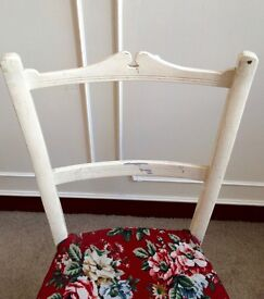 Antique Victorian White Painted Wooden Dining Kitchen Bedroom Chair - Project?