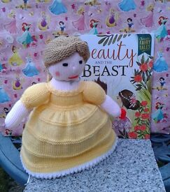 Hand knitted Double Doll and Book of BELLE inspired from Beauty and the Beast. NEW