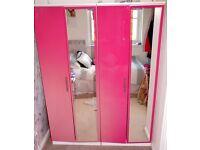 High Gloss Pink Bedroom Furniture Set - Wardrobes & Drawers
