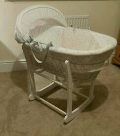 John Lewis sheep Moses basket with matching rocking stand