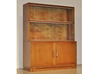 Small Vintage 'Minty' Mahogany 3 Part Sectional Bookcase w/ Sliding Glass Doors