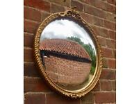 Circular Convex Glass Antique Gilt Mirror