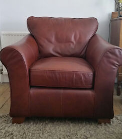 M&S Abbey Dakota leather armchair in oxblood brown