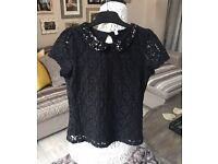 Girls M&S Sequin & Lace party top Age 7-8