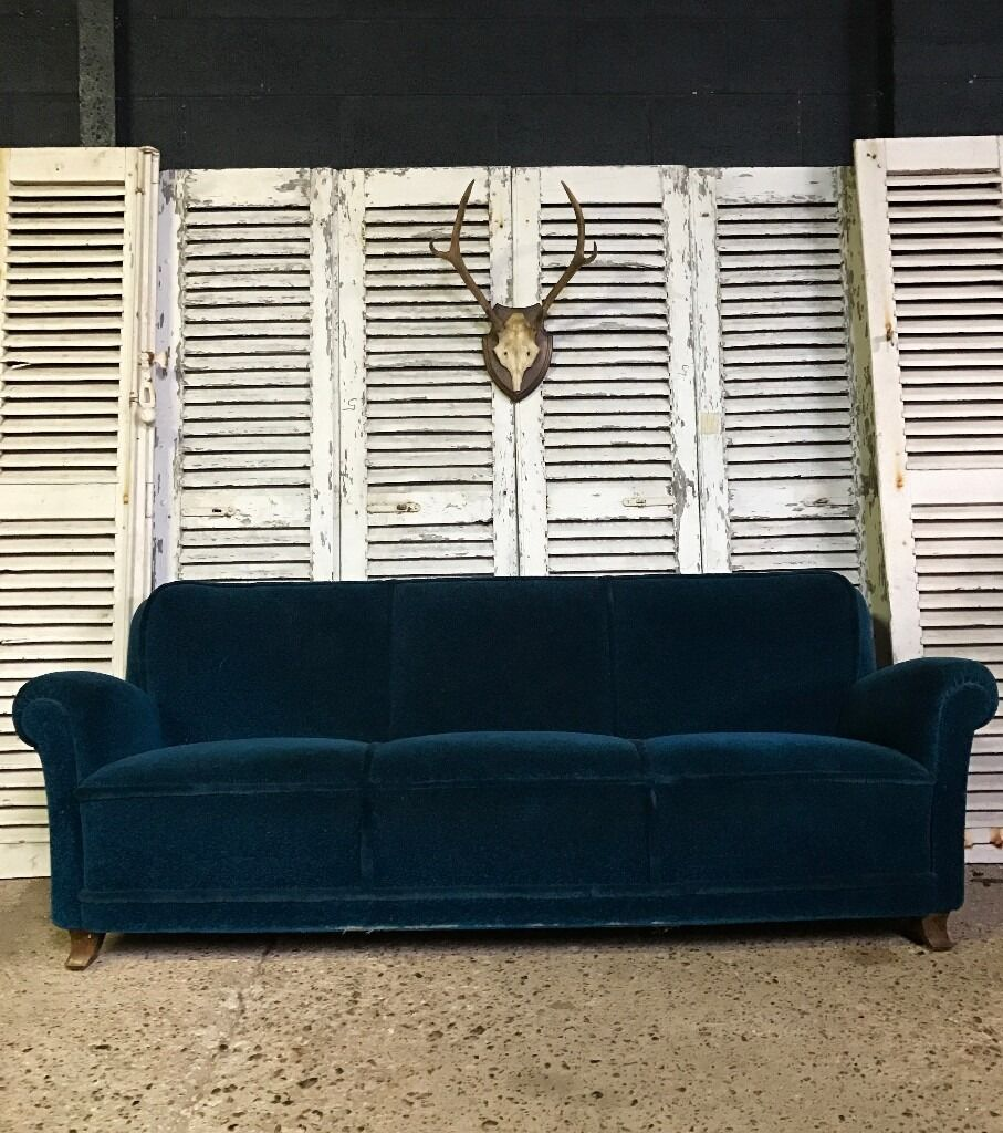 Vintage French 1960s Teal Peacock Blue Sofa (Delivery Available)