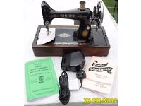 Fully Serviced/Working 1952 Singer 99K Brand New Motor, Foot Pedal & Lead Sewing Machine Heavy Duty