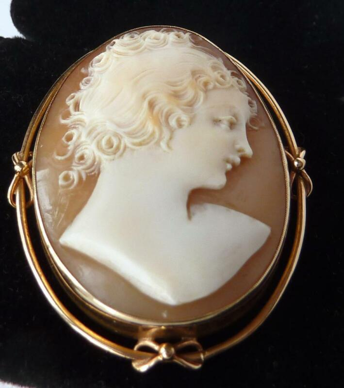 Vintage Art Deco 10k Rose Gold Hand Carved Conch Shell Cameo Brooch Pendant~10g
