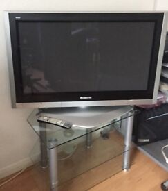 Panasonic 37 inch Plasma TV and glass stand for sale