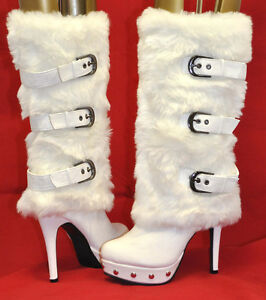 Red-Circle-FURRY-White-Fur-Mid-Calf-Boots-Woman-Shoes-Size-From-5-5-to-10