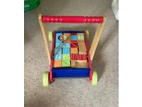 Early Learning Centre - wooden baby walker/trolley with blocks