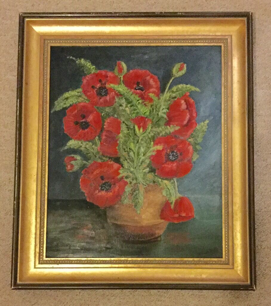 original vintage oil painting flowers large portrait ornate wooden gold frame