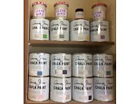 12 x 1Ltr Part-Used Tins of Annie Sloan Chalk Paint and 3 Jars Clear Wax