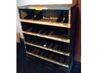 Old Garage Parts Department Metal Shelving, Racking & Pigeon Holes.