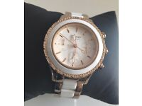 DKNY ROSE GOLD AND WHITE CERAMIC WATCH