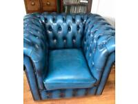 Antique styled Chesterfield club chair in blue