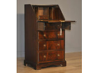 Attractive Small Vintage Flame Mahogany Bureau Cabinet Chest Of Four Drawers