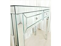Dressing Table Glass Mirrored Vanity Table AMESBURY PREMIUM PLUS Console Desk