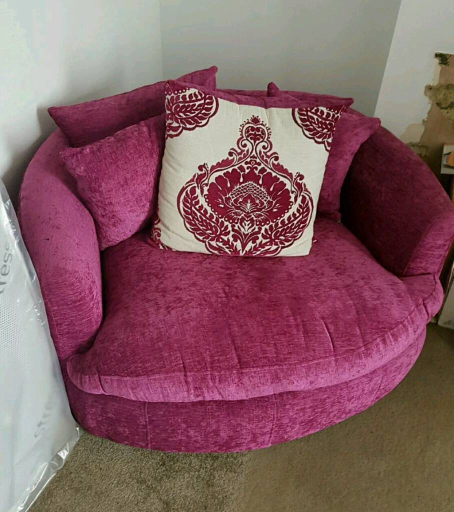 Pink Cuddle Chair Swivel Chair Round Sofa 2 Seater In