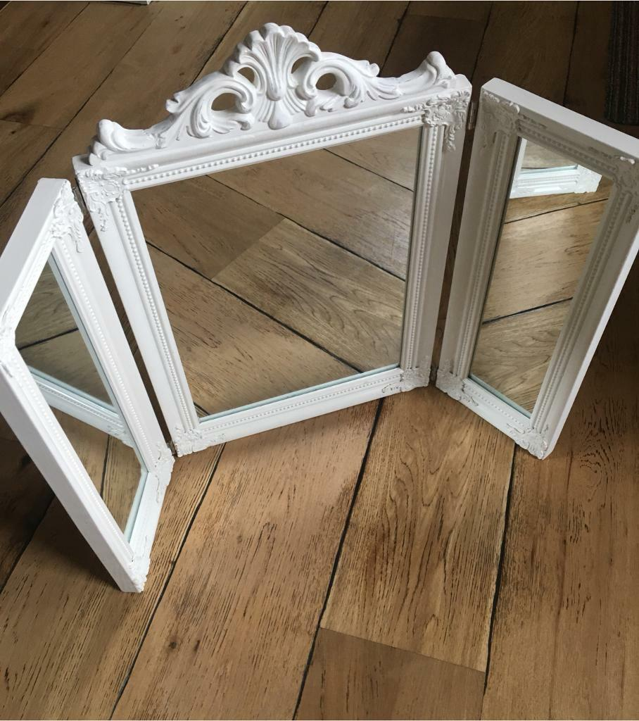 Triple Dressing Table Top Mirror White Shabby Chic Vintage Style