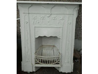 CAST IRON FIREPLACE WITH ART NOUVEAU.FITS IN THE BACK OF SMALL RENAULT CLIO SO COLLECT IT FOR FREE