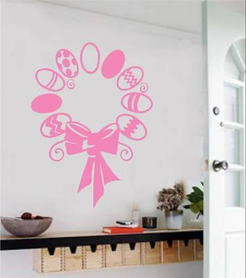 Easter Wall Decorations (Easter Egg Wreath Vinyl Decal Wall Sticker Spring Home Decor Kitchen)