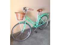 MANGO Portland Pastel Green Classic Ladies Bike with rear rack and basket - Seven Speed