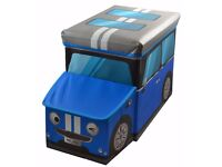 SALE*** Large Kids Clothes Storage Seat Bedroom Stool Toy Books Box Chest Boys Car Blue mini £8.99