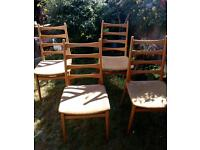Set of four retro dining chairs