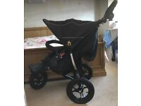 Out n About V4 Double Nipper 360 in Raven Black - Hardly Used Double Buggy/ Pushchair