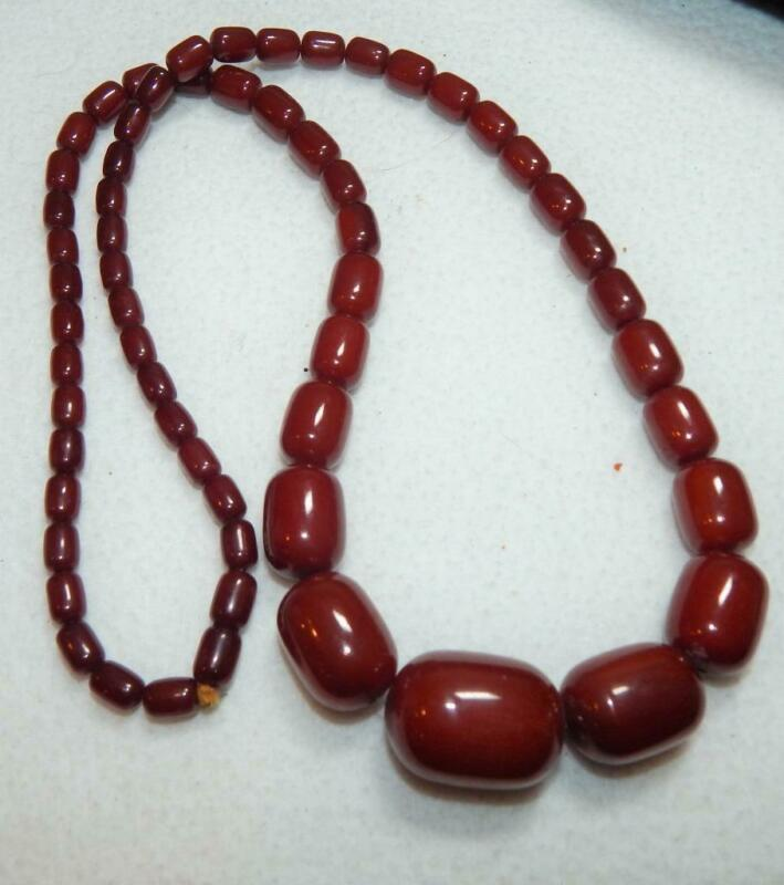 Lovely Cherry Amber Bakelite Barrel Beads Necklace / Marbled Graduated/ 66 Grams