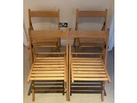 4 x Wooden Folding Chair - Natural