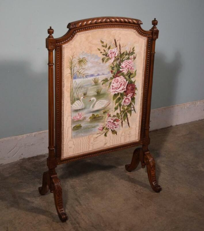 *French Antique Walnut Fireplace Screen Painted Scene with Swans and Roses