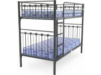 😍💕 CRAZY CHEAP PRICES! SINGLE & DOUBLE METAL BUNK-BED FRAME WITH CHOICE OF MATTRESS