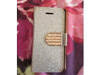 iPhone 5 5s Luxury silver glitter silver and gold flip phone case and cover