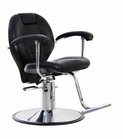 NEW HEAVY DUTY BLACK HADI® UK BARBER CHAIR REAL LATHER BC-05 52.5KG