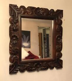 Mirror heavy carved wood look